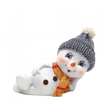 Schneekinder mit Mütze und Schal stehend//liegend 4er Set